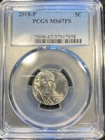 2018-P 5C JEFFERSON NICKEL PCGS MINT STATE 67FS FULL STEPS