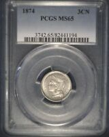 UNCIRCULATED 1874 3 CENT NICKEL PCGS MINT STATE 64  EVEN COLOR