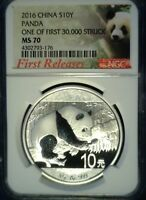 2016 CHINA 10 YUAN SILVER PANDA NGC MS70 FIRST RELEASES