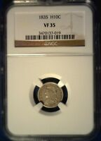 1835 CAPPED BUST HALF DIME NGC VF35  & NATURAL