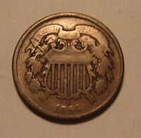 1864 TWO CENT PENNY   CIRCULATED CONDITION   60FR