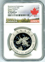 2019 $5 CANADA 1OZ NGC PF70 SILVER MAPLE LEAF VICTORIA BLUE