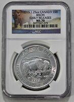 2015 1.25OZ .9999 FINE SILVER CANADA BISON NGC MS70 EARLY RE