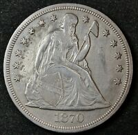 1870-CC SEATED LIBERTY DOLLAR.   A.U. DETAIL.  135176