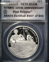 2012 ALDERNEY TITANIC 100TH ANNIVERSARY 5 POUNDS SILVER PROOF ANACS PR70 DCAM