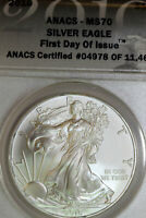 2010 ANACS MS70 AMERICAN SILVER EAGLE FIRST DAY OF ISSUE 04978-11465