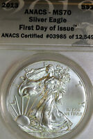 2013 ANACS MS70 AMERICAN SILVER EAGLE FIRST DAY OF ISSUE 03985-12549