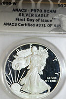 2008-W ANACS PR70 DCAM AMERICAN SILVER EAGLES FIRST DAY OF ISSUE 371-949