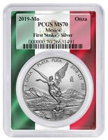2019 MEXICO 1OZ SILVER ONZA LIBERTAD PCGS MS70   FIRST STRIKE   FLAG FRAME
