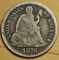 1876-S SEATED LIBERTY DIME.  CIRCULATED.  92767