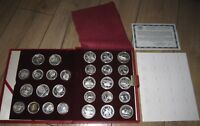 1980 USSR MOSCOW OLYMPIC FULL 28 PROOF SILVER COINS SET 5 & 10 RUBLES. CASE COA