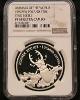 1997 POLAND 20 ZLOTYCH   STAG BEETLE   NGC PF68UC ULTRA CAMEO SILVER PROOF.