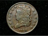 1829 HALF CENT  EXTRA FINE    BROWN REVERSE ROTATED 30 DEGREES