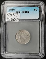 1886 LIBERTY NICKEL.  IN ICG HOLDER MINT STATE 62.   E437