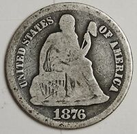 1876-S SEATED LIBERTY DIME.  GOOD.  103770