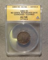 1883 NO CENTS LIBERTY NICKEL ANACS AU58  REPUNCHED DATE