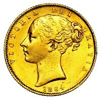 1864 QUEEN VICTORIA GREAT BRITAIN LONDON MINT GOLD SOVEREIGN