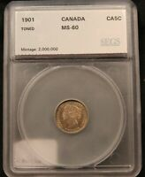 1901 CANADA SILVER 5 CENTS TONED MS 60 CERTIFIED. BV $200. QUEEN VICTORIA