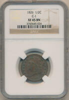 1826 CLASSIC HEAD HALF CENT. C-1 NGC EXTRA FINE 45 BROWN