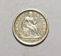 1857-O SEATED LIBERTY DIME OLD CLEANING SHARP  EXTRA FINE   FREE U.S. SHIP 30 B8