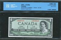 1954 DEVIL'S FACE $1 DOLLAR BANK OF CANADA CCCS UNC64 BC 29A COYNE TOWERS BV$200