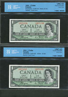 2X SEQUENTIAL SERIAL  1954 $1 CANADA DEVIL FACE COYNE TOWERS CCCS UNC63 BC 29A