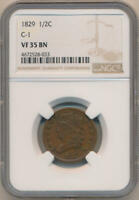 1829 CLASSIC HEAD HALF CENT. C-1 NGC VF35 BROWN