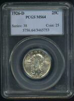 1926-D UNITED STATES STANDING LIBERTY QUARTER DOLLAR PCGS MINT STATE 64  INV1456