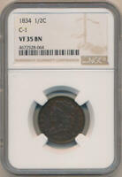 1834 CLASSIC HEAD HALF CENT. C-1 NGC VF35 BROWN