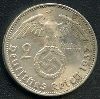 1937 'A' GERMANY 2 MARK COIN  8 GRAMS .625 SILVER
