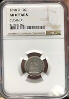 1858 O SEATED LIBERTY NGC CERTIFIED AU DETAILS CLEANED