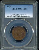 1871 U.S TWO CENT PIECE  PCGS MINT STATE 64BN, INV SL1366