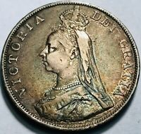 GREAT BRITAIN   QUEEN VICTORIA   DOUBLE FLORIN 1890  BEAUTIFULLY TONED FINE