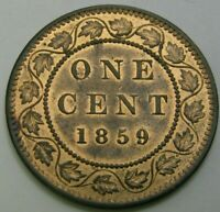 CANADA 1 CENT 1859   BRONZE   VICTORIA   DOUBLE PUNCH   XF/A