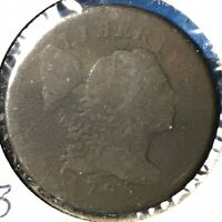 1795 1C FLOWING HAIR, LIBERTY CAP CENT, S-76B R-1 49805