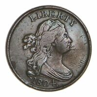 1804 DRAPED BUST HALF CENT - SPIKED CHIN - CIRCULATED 8075
