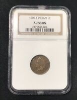 1909 S 1C NGC AU 53 BN INDIAN HEAD CENT SCARCE KEY DATE RARE