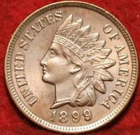 UNCIRCULATED RED 1899 PHILADELPHIA MINT INDIAN HEAD CENT