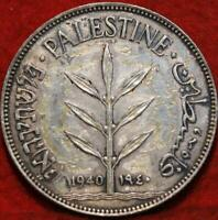 1940 PALESTINE 100 MILS SILVER FOREIGN COIN