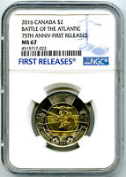 2016 CANADA $2 NGC MS67 FIRST RELEASES BATTLE OF THE ATLANTI