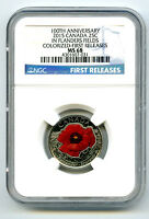 2015 CANADA 25 CENT NGC MS68 POPPY FLANDERS FIELDS REMEMBRAN