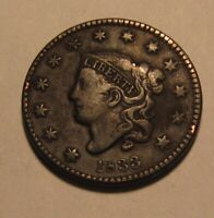 1833 CORONET HEAD LARGE CENT PENNY   EXTRA FINE CONDITION