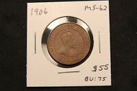 1906 CANADA LARGE CENT MS 62 TRACE RED. BV $75