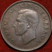 UNCIRCULATED 1946  NEW ZEALAND 1/2 CROWN SILVER FOREIGN COIN