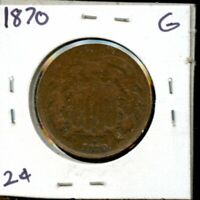 1870 UNITED STATES TWO CENT PIECE 2C COIN EG409