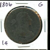 1806 UNITED STATES DRAPPED BUST LARGE CENT 1C COIN EG427