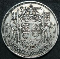1943 CANADA SILVER FIFTY CENT COIN