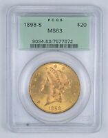 MS63 1898 S $20.00 LIBERTY HEAD GOLD DOUBLE EAGLE   GRADED P