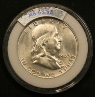 1963 USA SILVER HALF DOLLAR 50 CENTS. CHOICE UNCIRCULATED IN OLD HOLDER.