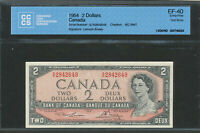 1954 $2 TEST NOTE BANK OF CANADA. BC 38DT. S/R 2842649 LAWSON BOUEY. CCCS EF 40